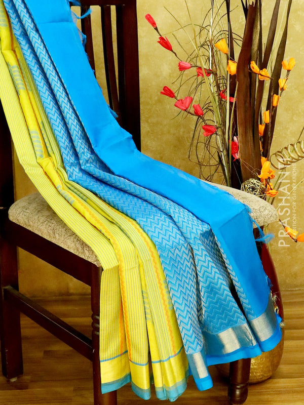Light Weight Silk Cotton Saree lime yellow and cs blue with all over thread weaves and rich pallu