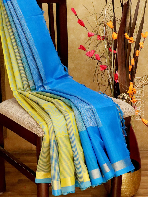 Light Weight Silk Cotton Saree lime green and cs blue with all over thread weaves and rich pallu