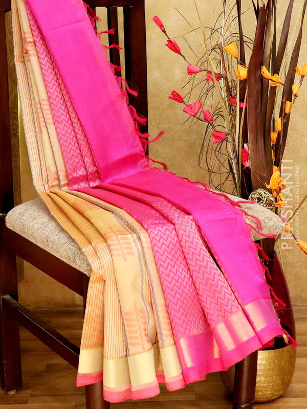 Light Weight Silk Cotton Saree cream and pink with all over thread weaves and rich pallu