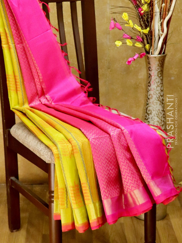 Light Weight Silk Cotton Saree lime green and pink with all over thread weaves and rich pallu