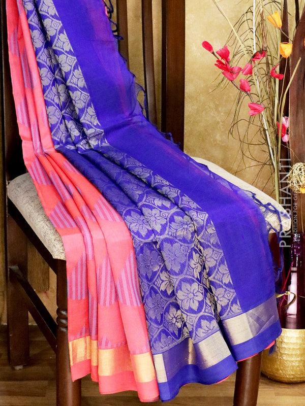 Light Weight Silk Cotton Saree peach pink and blue with all over thread weaves and rich pallu