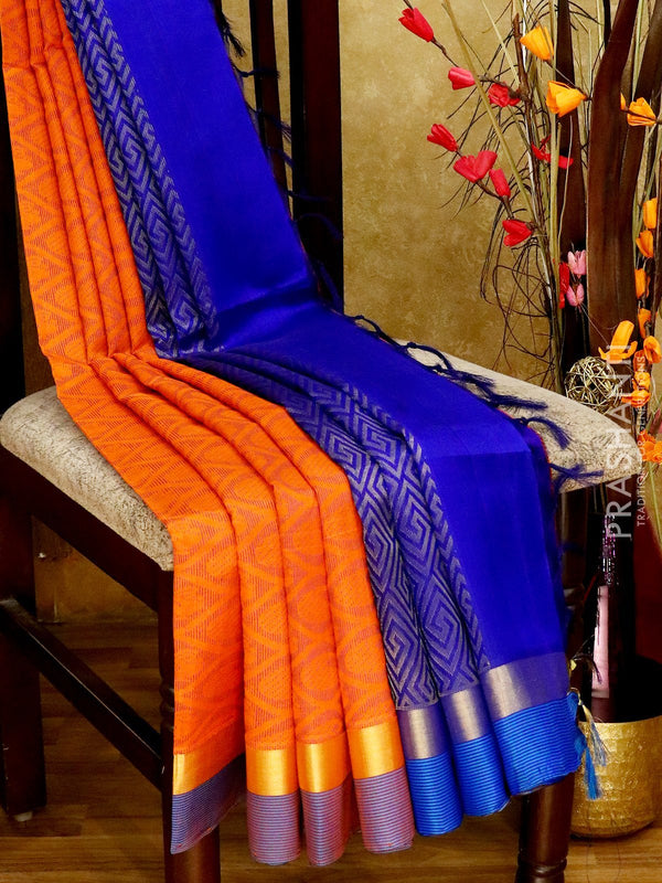 Light Weight Silk Cotton Saree orange and blue with all over thread weaves and rich pallu