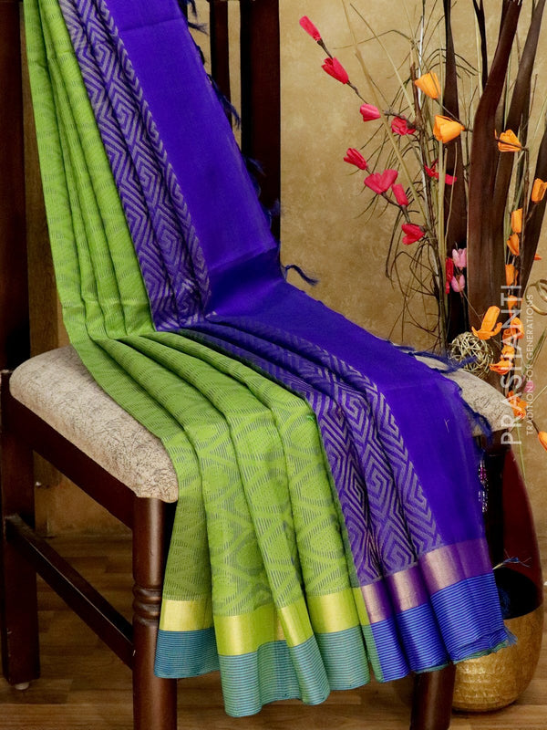 Light Weight Silk Cotton Saree green and violet with all over thread weaves and rich pallu