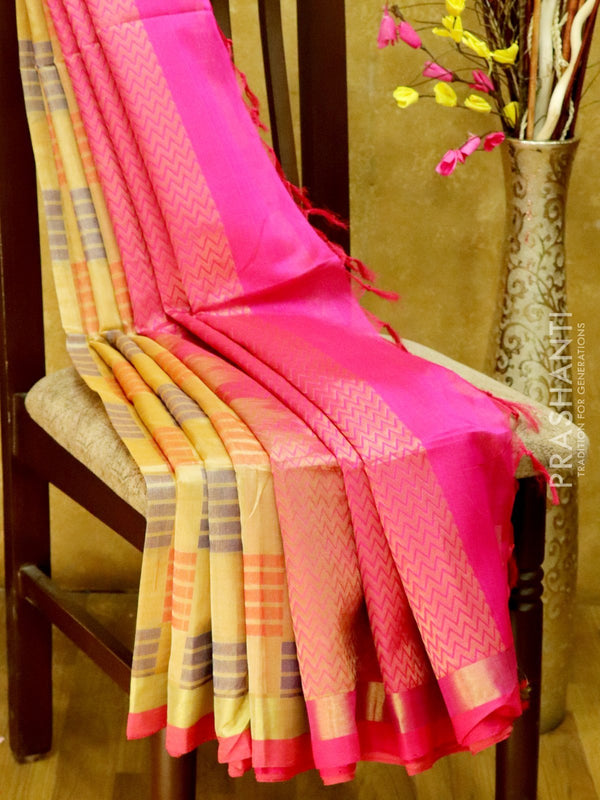 Light Weight Silk Cotton Saree beige and pink with all over thread weaves and rich pallu