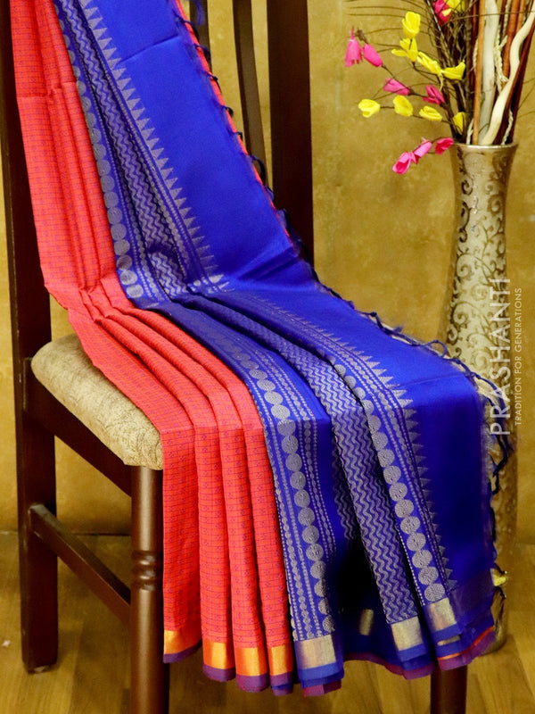 Light Weight Silk Cotton Saree tomato pink and navy blue with all over thread weaves and rich pallu