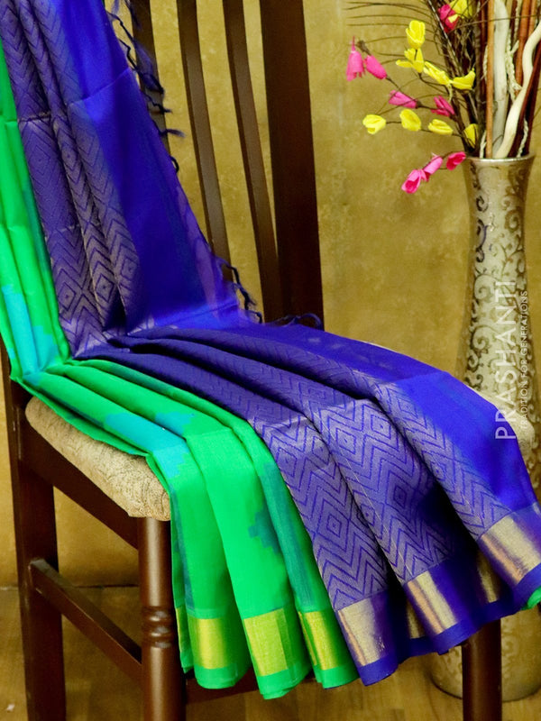 Light Weight Silk Cotton Saree green and blue with all over thread weaves and rich pallu