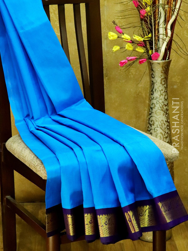 Silk Cotton Saree CS Blue & Navy Blue with rich korvai zari border