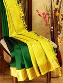 Silk Cotton Saree Bottle Green & Mustard with rich korvai zari border