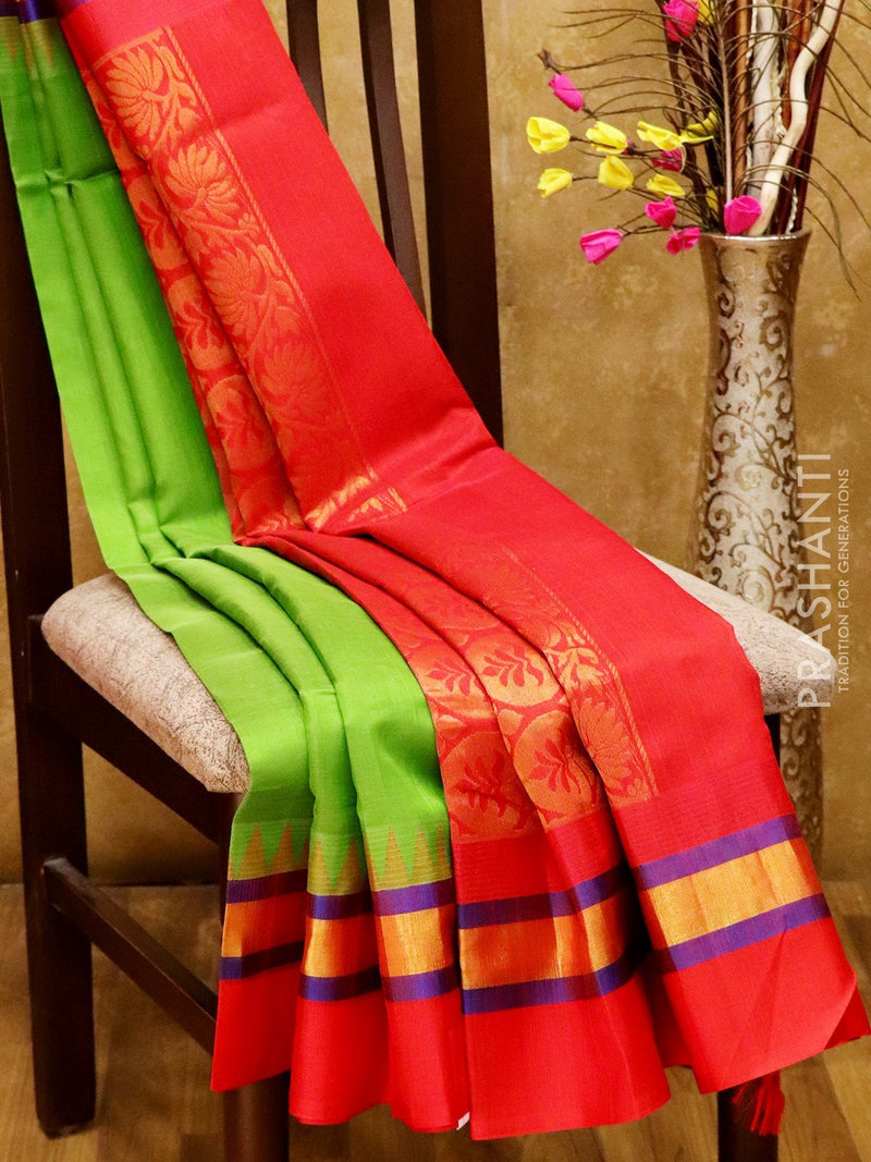 Kuppadam silk cotton saree green and red with golden zari temple thread border