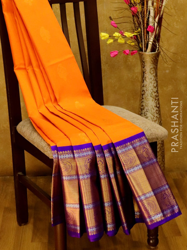Kuppadam silk cotton saree orange and violet with golden zari buttas and long annam border