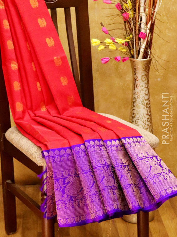 Kuppadam silk cotton saree red and violet with zari buttas and long peacock border
