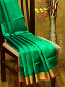 Silk Cotton Saree green and pink with self emboss pattern and rich zari border