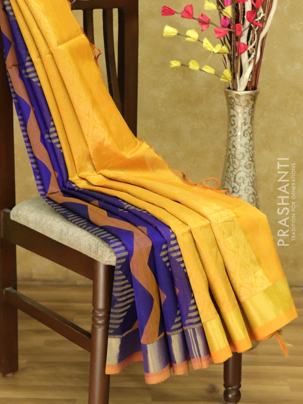 Lightweight silk cotton saree violet and mustard yellow with thread woven zic zac pattern and zari border