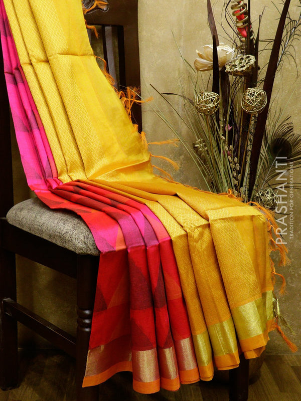 Lightweight silk cotton saree pink and mustard yellow with thread woven geometric pattern and golden zari border
