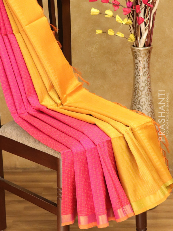 Lightweight silk cotton saree pink and mustard yellow with thread woven small checks and zari border