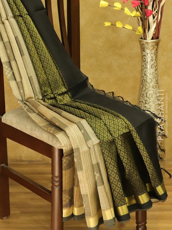 Lightweight silk cotton saree beige and black with thread woven small checks geometric buttas and zari border
