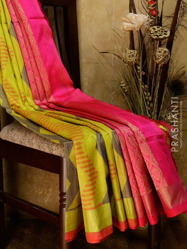 Lightweight silk cotton saree lime green and pink with thread woven zic zac pattern and zari border