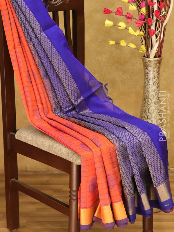Lightweight silk cotton saree orange and blue with checked pattern thread woven floral buttas and zari border