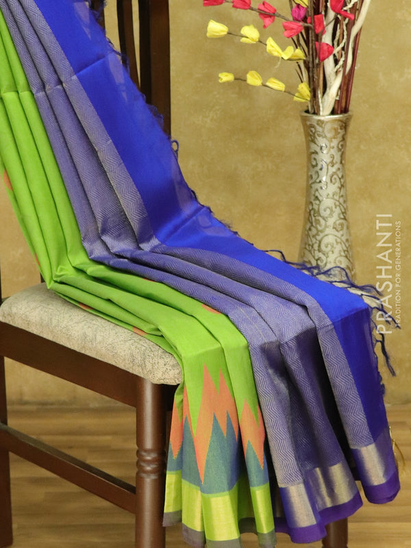 Lightweight silk cotton saree green and blue with thread woven paisley buttas and zari woven border