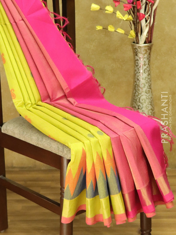 Lightweight silk cotton saree yellow and pink with thread woven paisley buttas and zari woven border