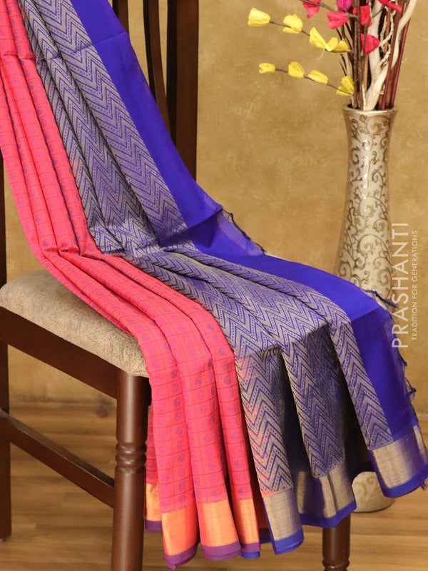 Lightweight silk cotton saree tomato pink and blue with checked pattern thread woven paisley buttas and border