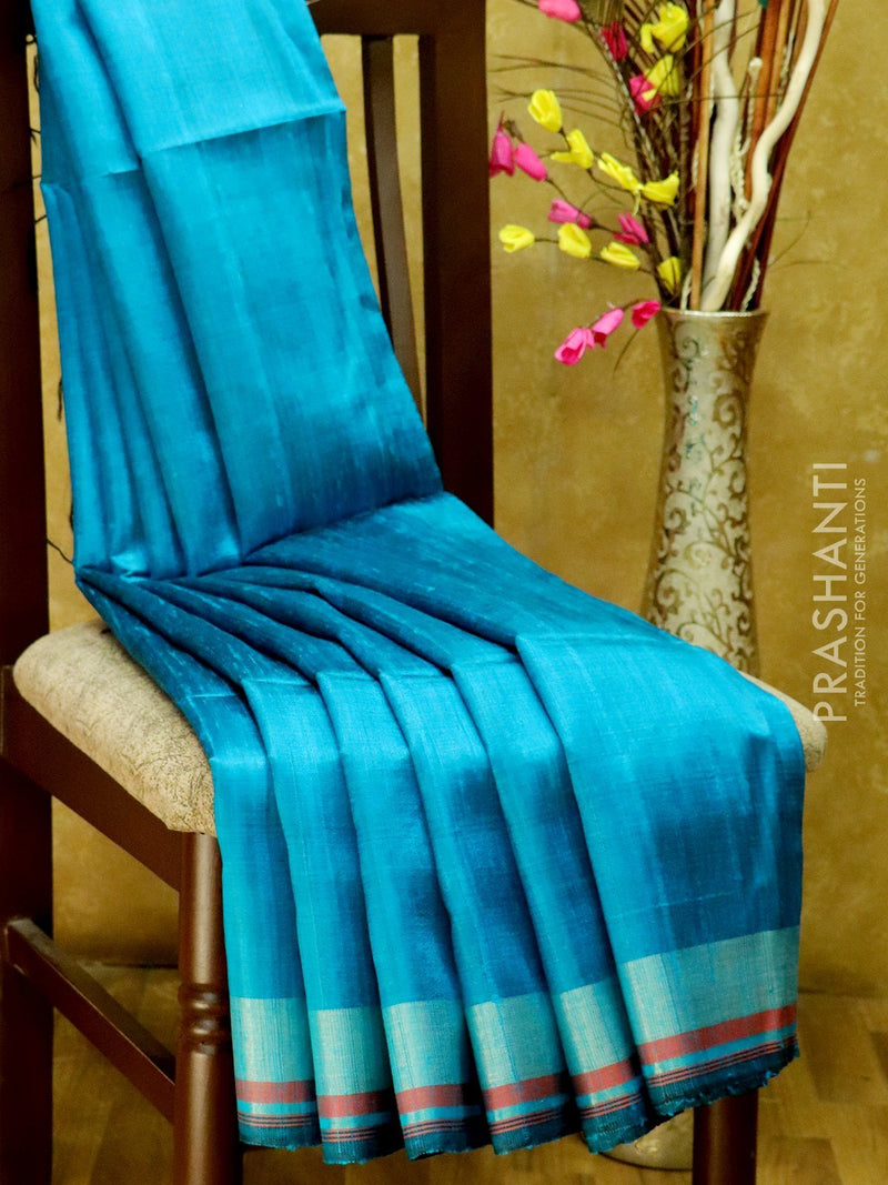 Dupion Silk saree blue and magenta pink with thread weavings and golden zari border