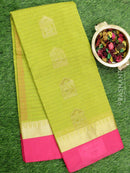 South Kota saree green and pink with golden zari buttas and temple border