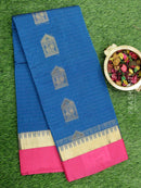 South Kota saree peacock blue and pink with golden zari buttas and temple border