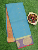 South Kota saree mild blue and lavander shade with self emboss and golden zari buttas and border