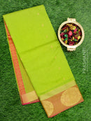 South Kota saree green with self emboss and golden zari buttas and border
