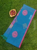 South Kota saree blue and pink with piping border and buttas in borderless style
