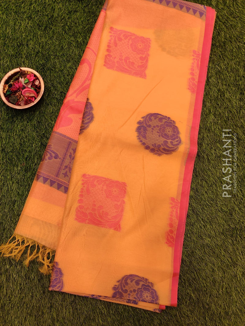 South Kota sarees mild yellow and pink with piping border and buttas in borderless style