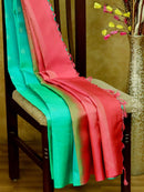 Soft Silk Saree teal green and pink with silver zari floral motifs in borderless style