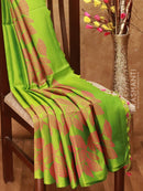 Soft Silk Saree green with leaf thread woven body and kaddi zari border
