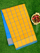 Semi Silk Cotton saree mango yellow and cs blue with checked body and kaddi zari border