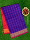 Semi Silk Cotton saree blue and pink with checked body and kaddi zari border
