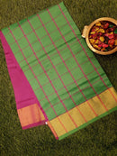 Semi Silk Cotton saree green and magenta with checked body and kaddi zari border