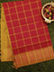 Semi Silk Cotton saree red and mustard yellow with checked body and kaddi zari border