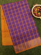 Semi Silk Cotton saree violet and mustard yellow with checked body and kaddi zari border
