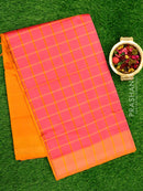 Semi Silk Cotton saree onion pink and mustard yellow with checked body and kaddi zari border