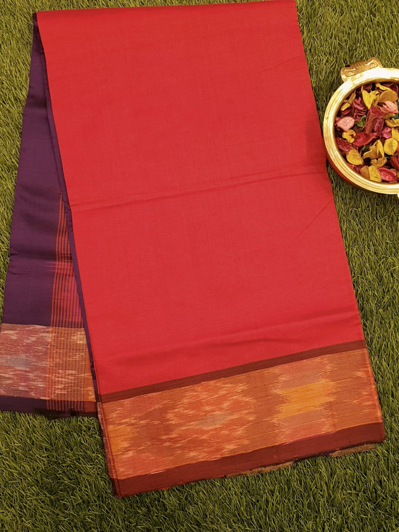 Semi Silk Cotton saree dark orange and deep violet with plain body and ikkat  border
