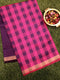 Semi Silk Cotton saree pink and deep violet with checked pattern and zari border