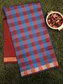 Semi Silk Cotton saree blue and brown with checked pattern and zari border