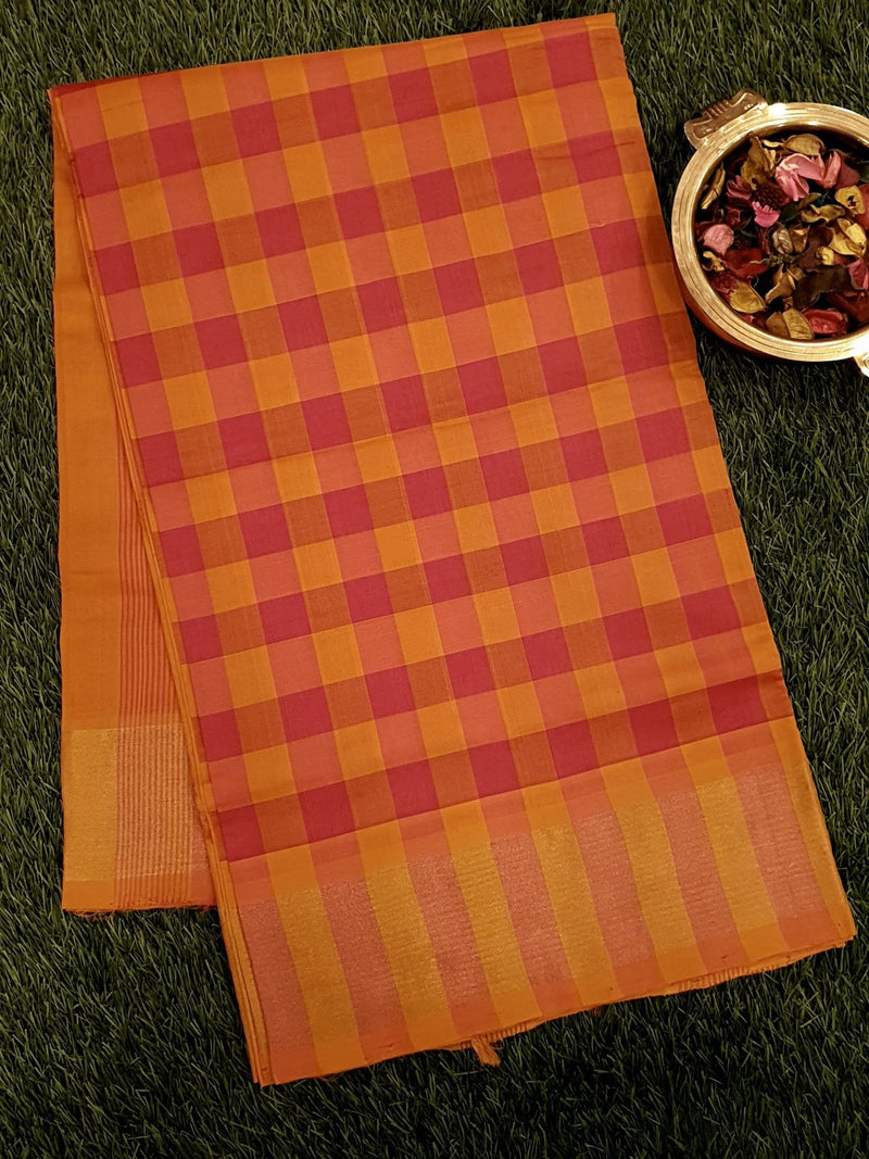 Semi Silk Cotton saree pink and mustard yellow with checked pattern and zari border