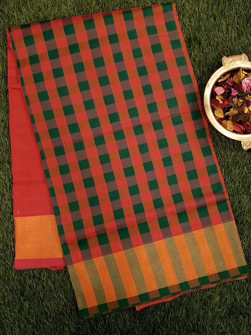 Semi Silk Cotton saree green and dual shade of pink with checked pattern and zari border