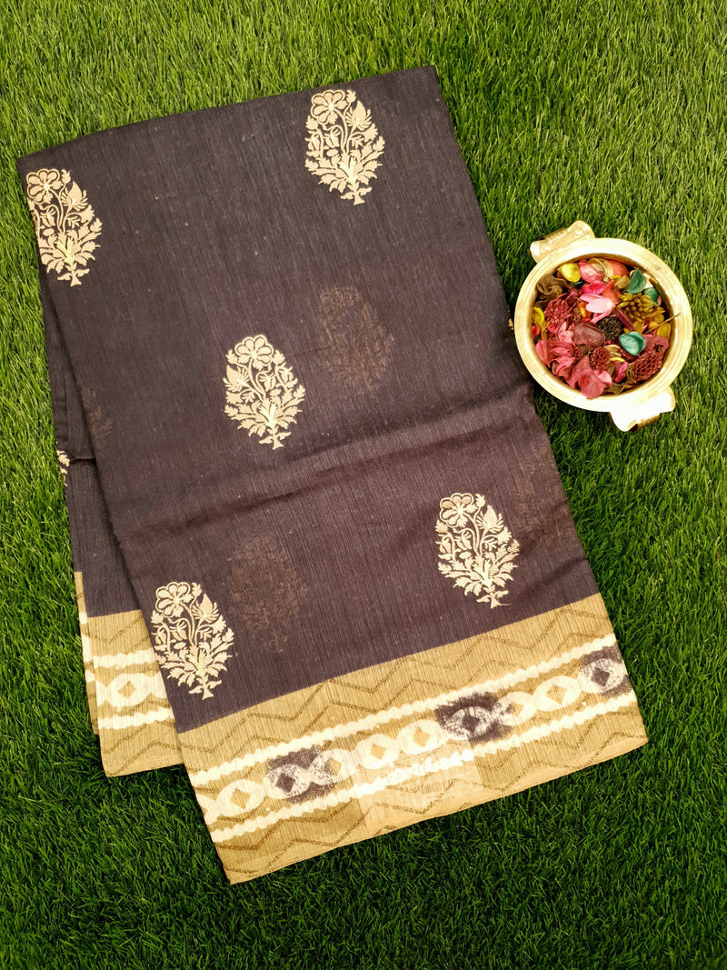 Semi Tussar Saree black and beige with embroided pattern