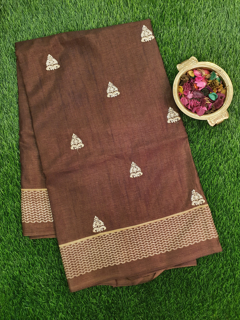 Semi Tussar Saree brown and beige with embroided pattern