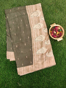 Semi Tussar Saree green and beige with embroided pattern