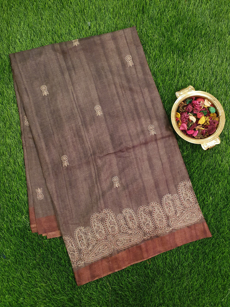 Semi Tussar Saree grey and brown with embroided pattern