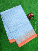 Semi Tussar Saree light blue and peach with embroided pattern